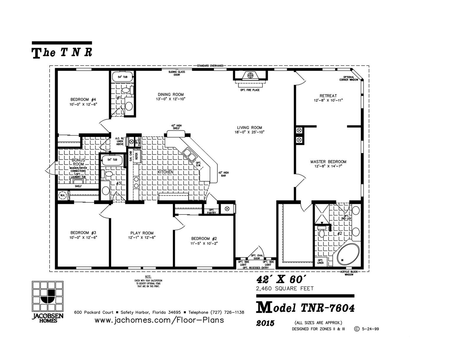 Tnr 7604 2 460 Sq Ft 4 Bedroom 3 Bath 42 X 60 Floor Plan