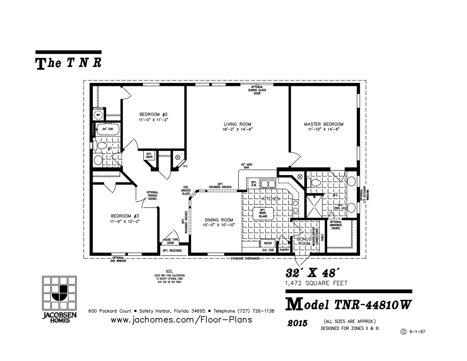 Tnr 44810w Mobile Home Floor Plan Gainey Custom Homes