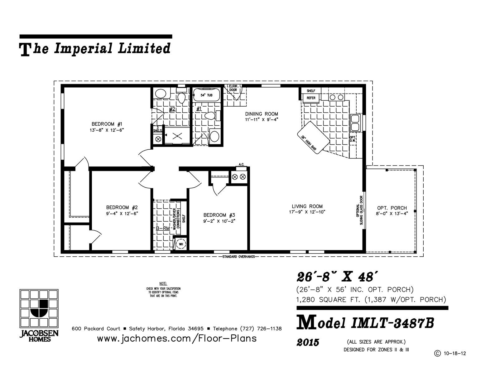 1,280 Sq. Ft. | 2 Bedroom | 2 Bath 26′ X 48′. DOWNLOAD FLOOR PLAN · REQUEST MOBILE  HOME PRICING